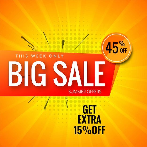 Arrière-plan de bannière de grande vente modèle coloré Vecteur Premium