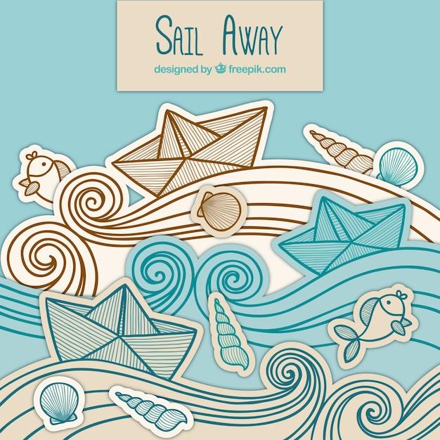 Arrière-plan des bateaux en papier avec des vagues dessinées à la main Vecteur gratuit
