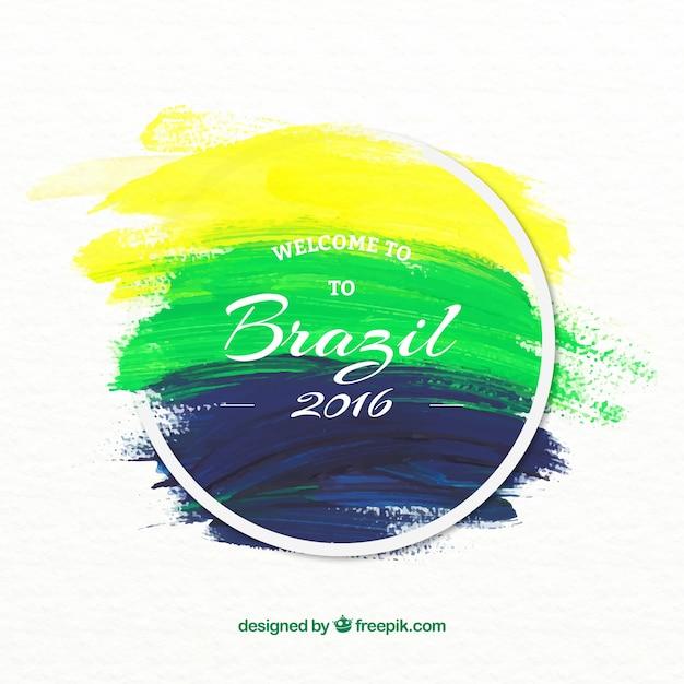 Arrière-plan de brazil 2016 coups de pinceau Vecteur gratuit