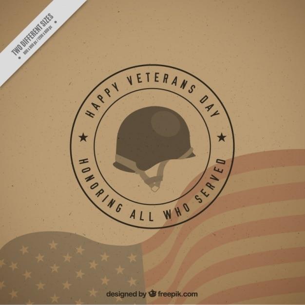 Arrière-plan avec un casque militaire pour les anciens combattants jour Vecteur gratuit