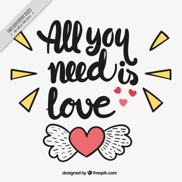 Arrière-plan De Coeur Avec Des Ailes Et Des Phrases D'amour Vecteur gratuit