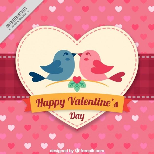 Arrière-plan Avec Des Coeurs Et Des Oiseaux Dans L'amour Pour Saint Valentin Vecteur Premium