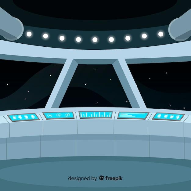 Arrière-plan de conception de vaisseau spatial intérieur avec deisgn plat Vecteur gratuit