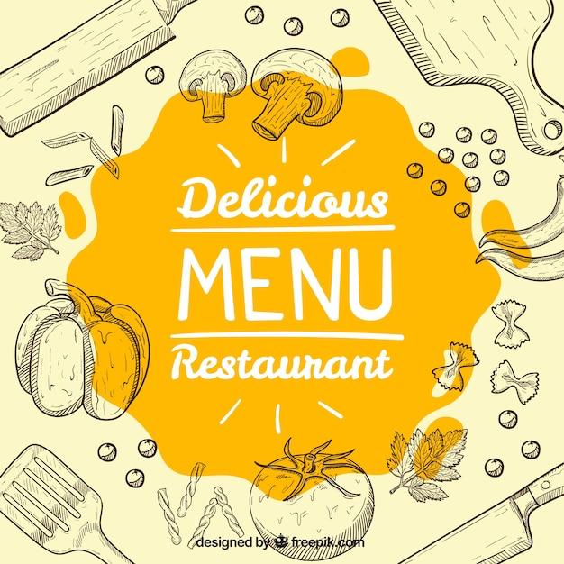 Arrière-plan de croquis alimentaires et des objets de cuisine Vecteur gratuit