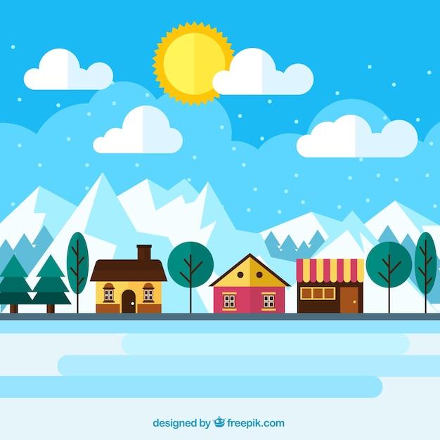 Arri re plan de jolies maisons dans le paysage d 39 hiver for Paesaggio invernale disegno