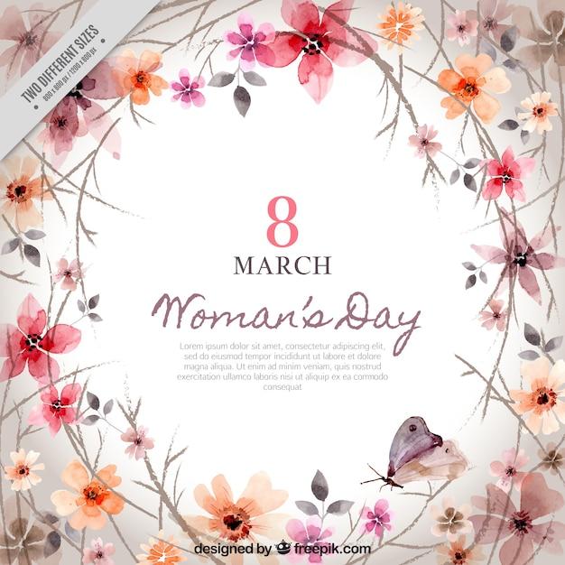 Arrière-plan de la décoration florale de la journée de la femme Vecteur gratuit