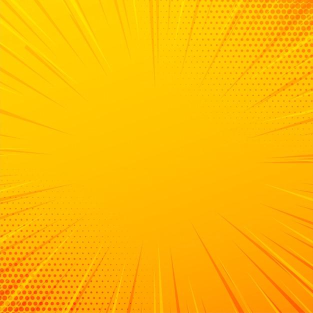 Arrière-plan de lignes de zoom comique jaune Vecteur gratuit