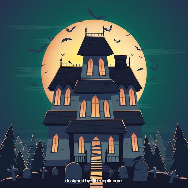 Arri re plan de maison hant e pour l 39 halloween t l charger des vecteurs premium - Dessin de maison hantee ...