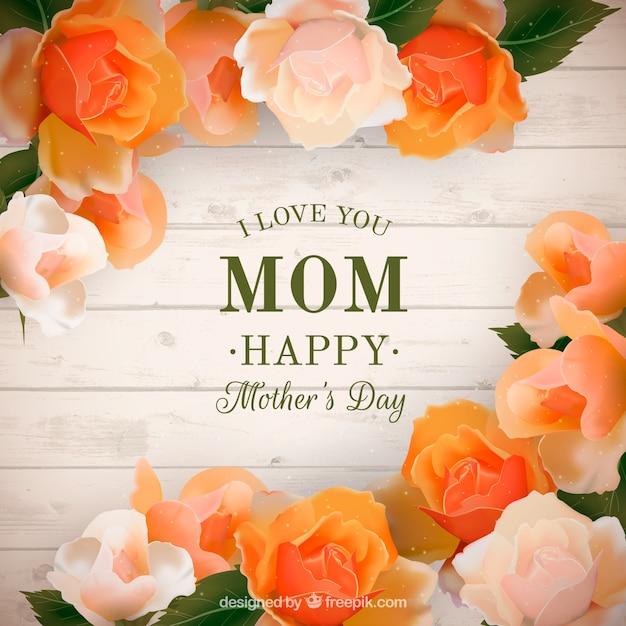 Arrière-plan de planches avec des fleurs réalistes pour la fête des mères Vecteur gratuit