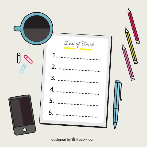 Arri re plan d coratif avec la liste de contr le et - Liste fourniture de bureau ...