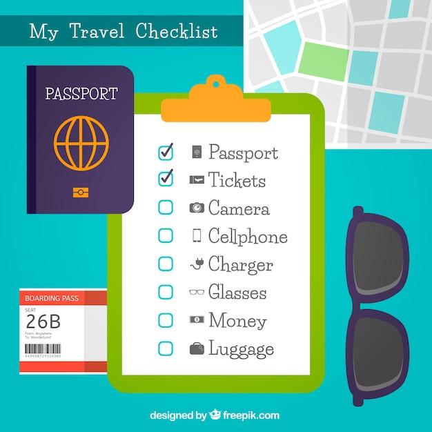 Arrière-plan décoratif avec liste de contrôle voyage Vecteur gratuit