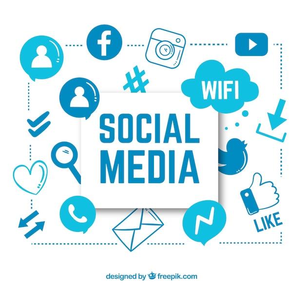 Arrière-plan dessiné avec des icônes de médias sociaux Vecteur gratuit