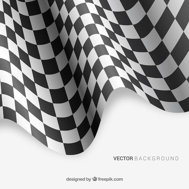 Arrière-plan de drapeau à damier avec un design réaliste Vecteur gratuit