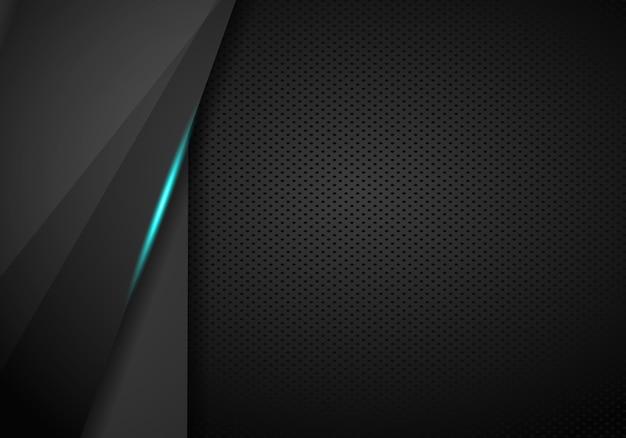 Arrière-plan du modèle abstrait tech bleu métallique mise en page moderne tech design Vecteur Premium