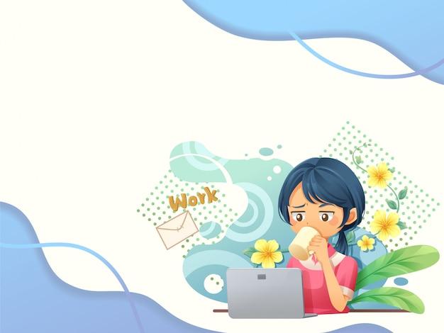 Arrière-plan du modèle web avec des personnes travaillant sur laptop2 - vecteur Vecteur Premium