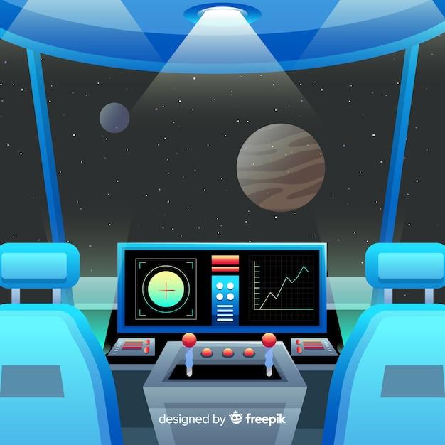 Arrière-plan du panneau de commande de l'engin spatial Vecteur gratuit