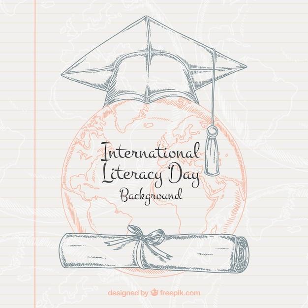 Arrière-plan de la feuille portable avec des dessins de la journée internationale de l'alphabétisation Vecteur gratuit