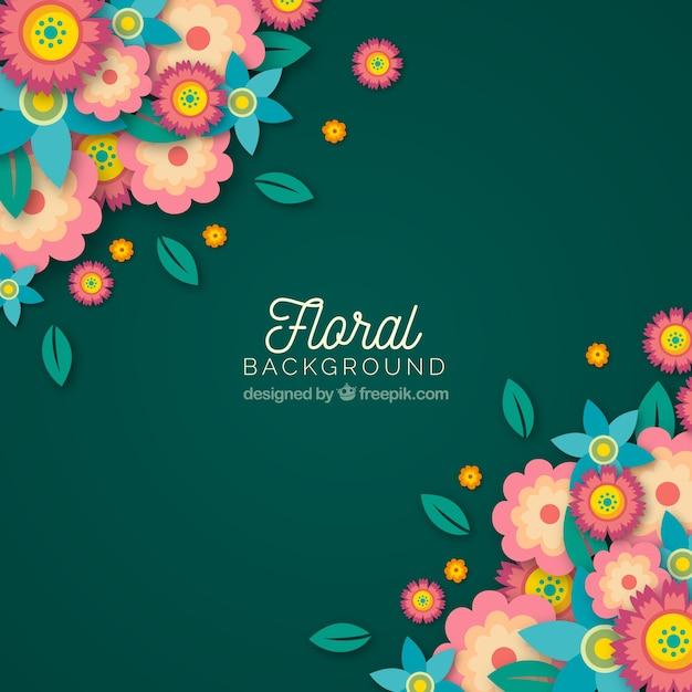 Arrière-plan floral coloré avec un design plat Vecteur gratuit