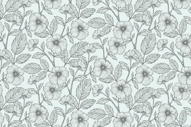 Arrière-plan floral dessiné main réaliste Vecteur gratuit