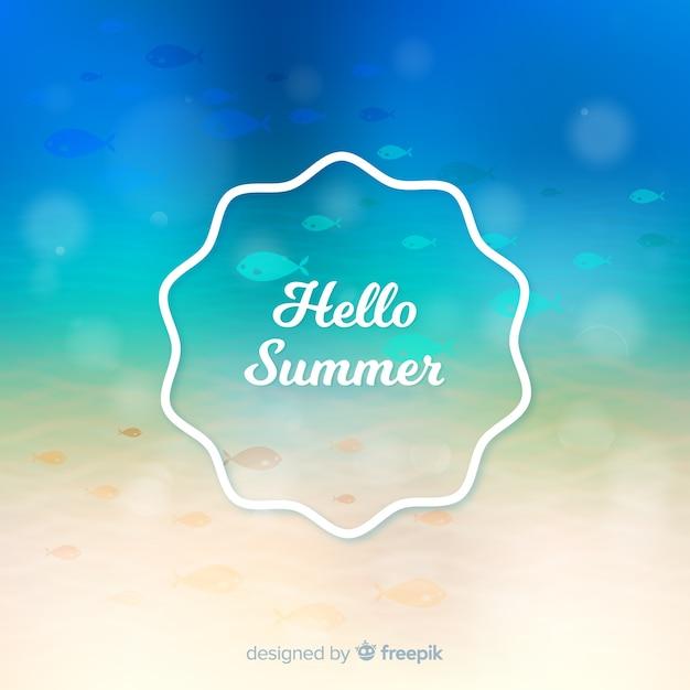 Arrière-plan flou coloré bonjour l'été Vecteur gratuit