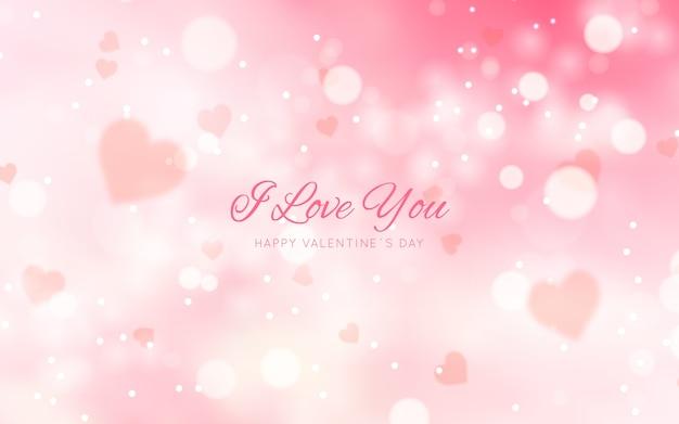 Arrière-plan Flou De La Saint-valentin Avec Message Vecteur gratuit