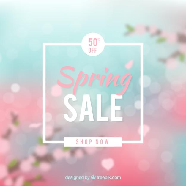 Arrière-plan flou de vente printemps Vecteur gratuit