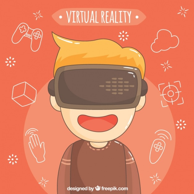 Arrière-plan de garçon avec des lunettes de réalité virtuelle Vecteur gratuit