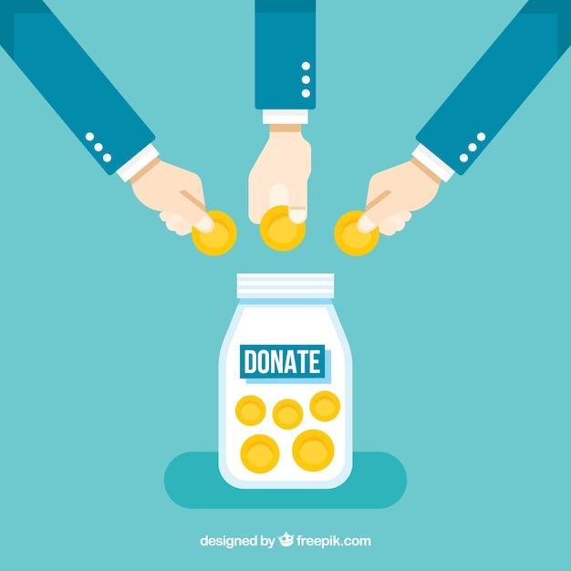 Arrière-plan avec des gens qui font un don Vecteur gratuit