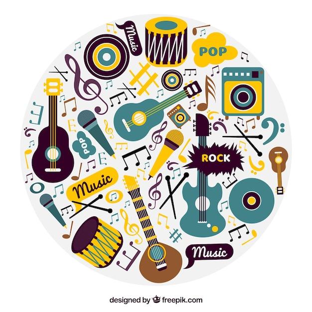 L'arrière-plan des instruments de musique au style vintage Vecteur gratuit