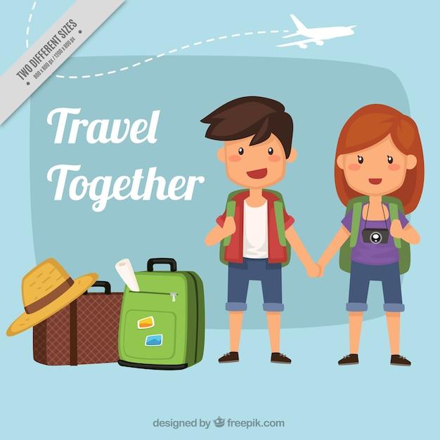 Arrière-plan de joli couple avec bagages Vecteur gratuit