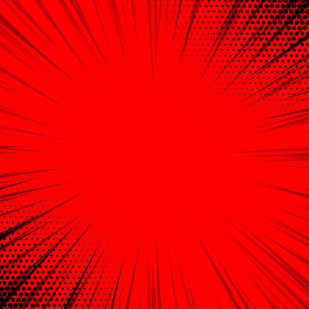 Arrière-plan de lignes de zoom bande dessinée rouge Vecteur Premium