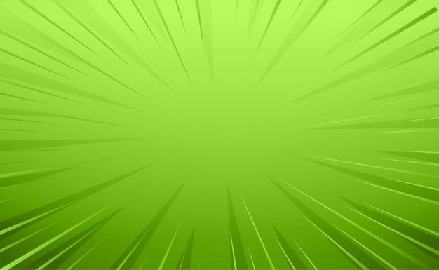 Arrière-plan De Lignes De Zoom Vide Style Comique Vert Vecteur gratuit