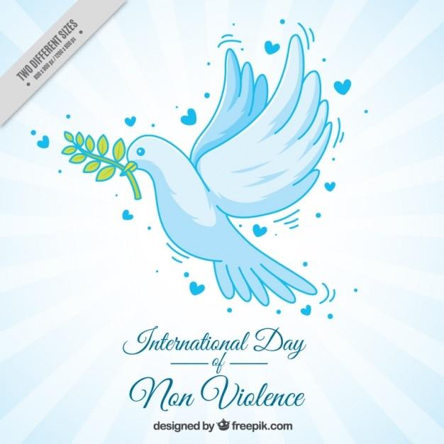 Arrière-plan de la main dessinée colombe de la paix Vecteur gratuit