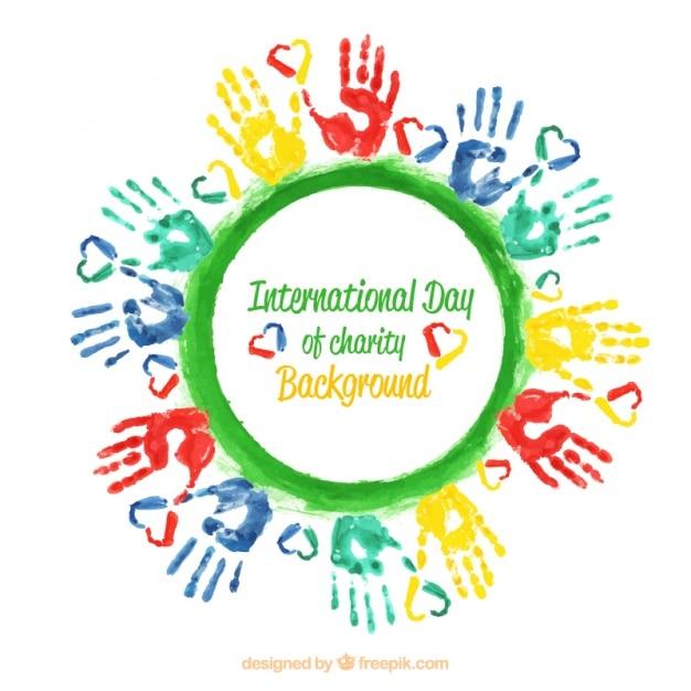 Arrière-plan avec les mains colorées et un cercle vert Vecteur gratuit