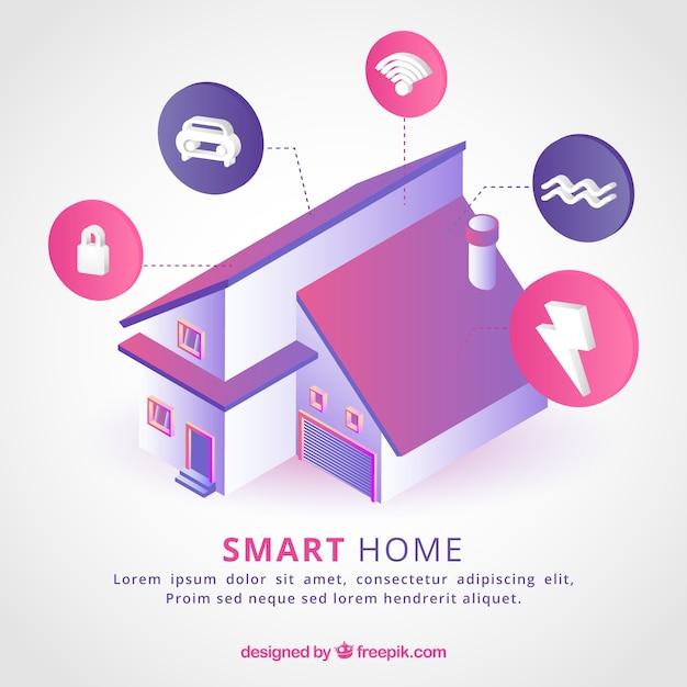 Arrière-plan De Maison Intelligente Dans Le Style Isométrique Vecteur gratuit