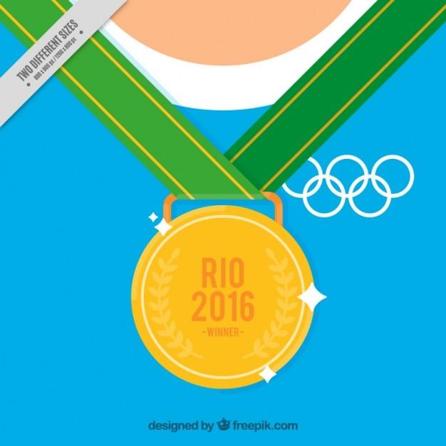 Arrière-plan de la médaille d'or olympique Vecteur gratuit