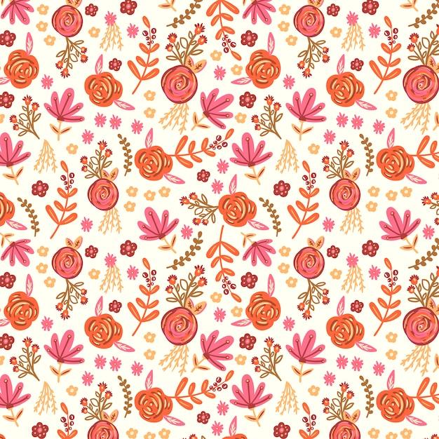 Arrière-plan avec un motif floral Vecteur gratuit