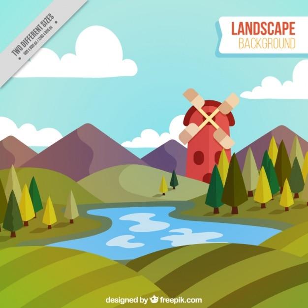 Arrière-plan avec moulin et lac Vecteur gratuit