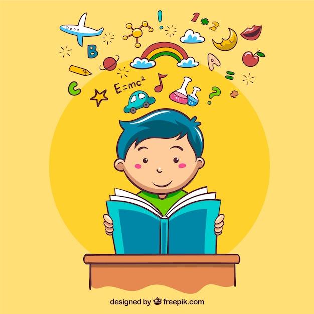 Arrière-plan Avec Des Objets Décoratifs Et La Lecture De Garçon Vecteur Premium