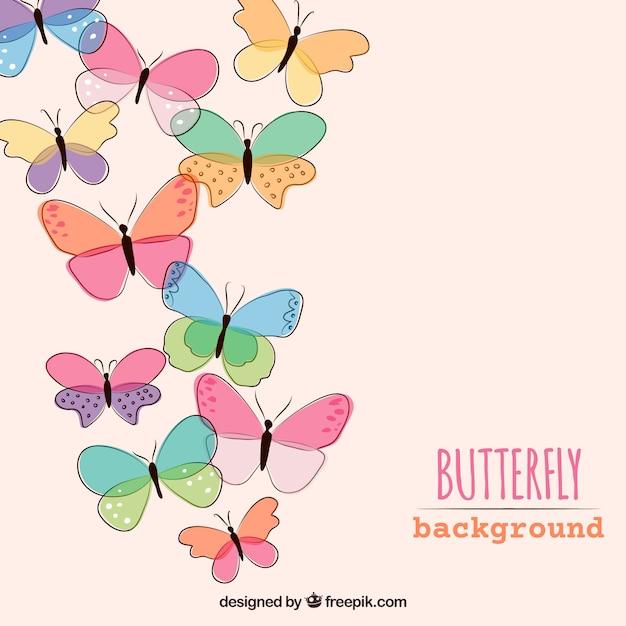 Arrière-plan de papillons dessinés à la main Vecteur gratuit