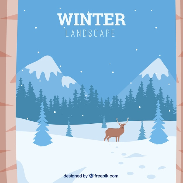 Arrière-plan de paysage montagneux enneigé avec des rennes Vecteur gratuit
