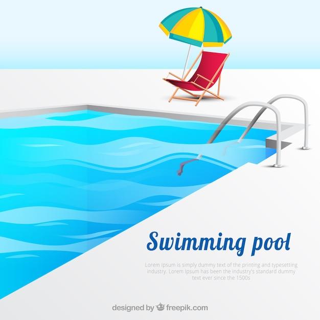 Arrière-plan de piscine avec chaise longue et parasol Vecteur gratuit