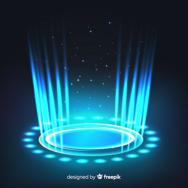 Arrière-plan de portail hologramme bleu réaliste Vecteur gratuit