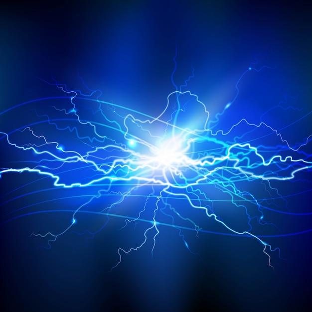 Arrière-plan réaliste bleu éclair avec un bouquet lumineux Vecteur gratuit