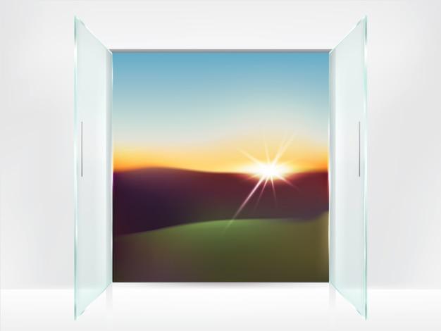 Arrière-plan réaliste avec des portes ouvertes en verre double avec des poignées en métal et sunrise Vecteur gratuit