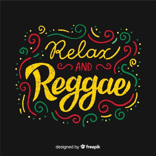 Arrière-plan reggae texte lignes courbes Vecteur gratuit
