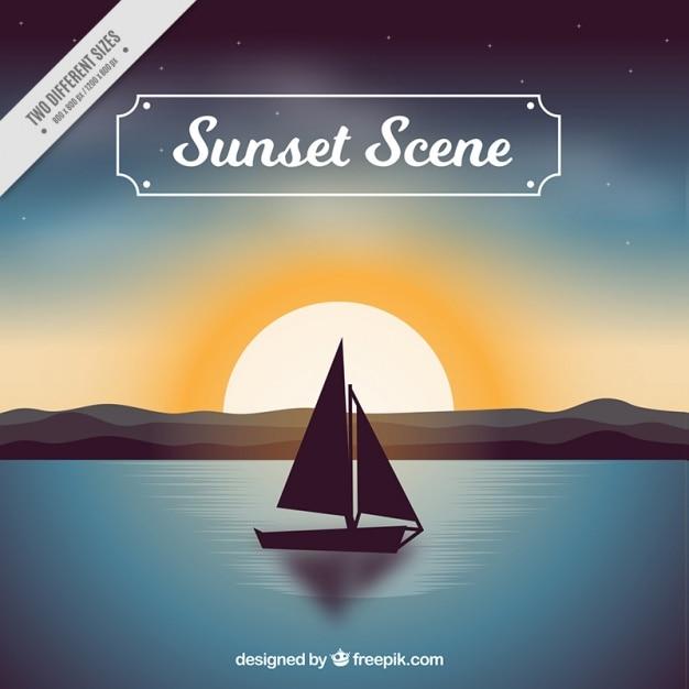 Arrière-plan de la scène du bateau d'été au coucher du soleil Vecteur gratuit