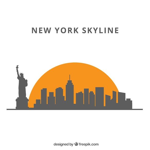 Arrière-plan de silhouette skyline dans un style plat Vecteur gratuit