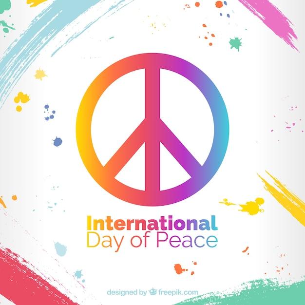 Arrière-plan Avec Le Symbole Coloré De La Paix Vecteur gratuit