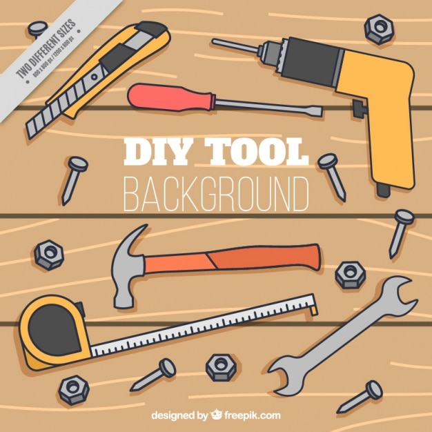Arrière-plan de table en bois avec des outils dessinés à la main Vecteur gratuit